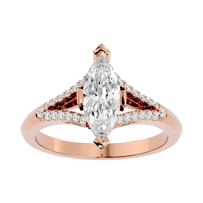 1.25 Carat Marquise Shape Diamond Engagement Ring in 14K Rose Gold (4.10 g) (