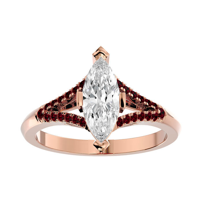 1.25 Carat Marquise Shape Diamond & Ruby Engagement Ring in 14K Rose Gold (4.10 g) (