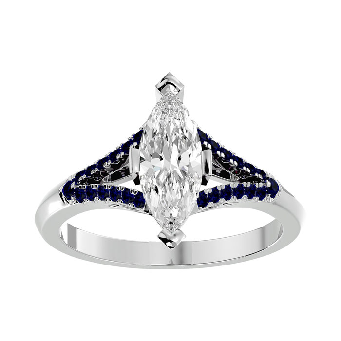 1.25 Carat Marquise Shape Diamond & Sapphire Engagement Ring in 14K White Gold (4.10 g) (