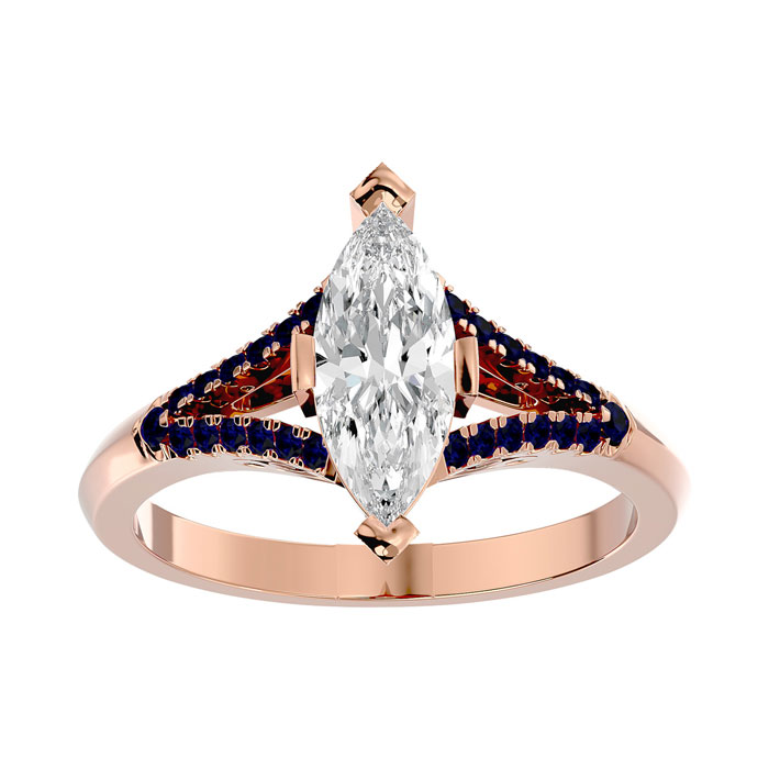 1.25 Carat Marquise Shape Diamond & Sapphire Engagement Ring in 14K Rose Gold (4.10 g) (