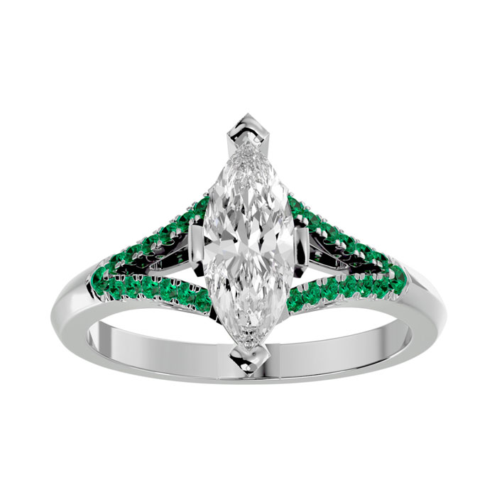 1.25 Carat Marquise Shape Diamond & Emerald Cut Engagement Ring in 14K White Gold (4.10 g) (