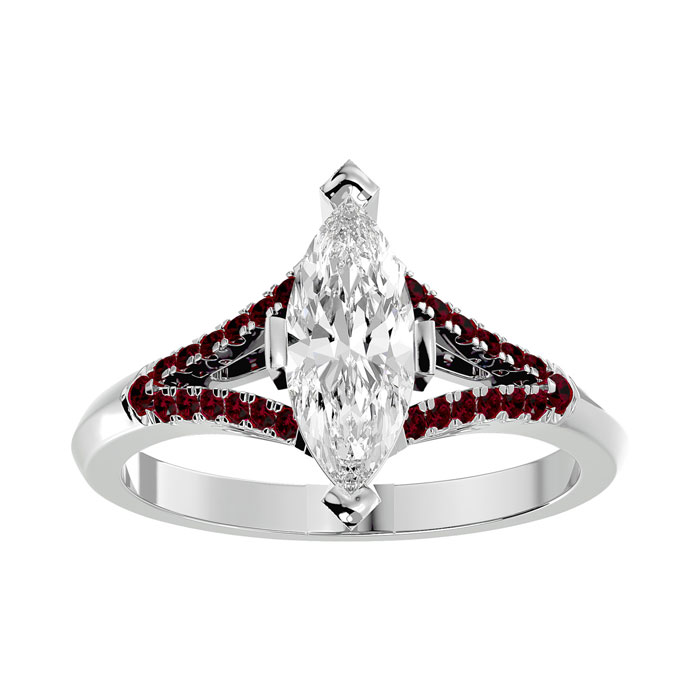 1.25 Carat Marquise Shape Diamond & Ruby Engagement Ring in 14K White Gold (4.10 g) (