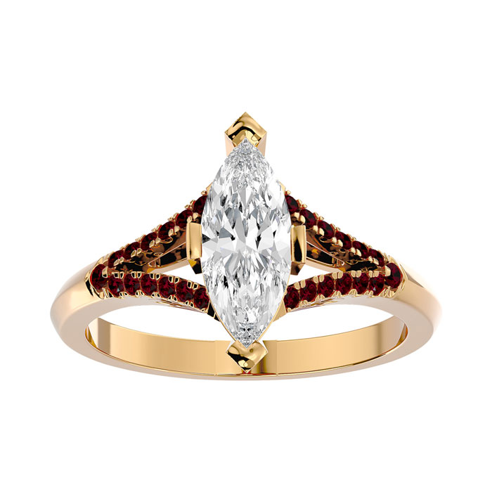 1.25 Carat Marquise Shape Diamond & Ruby Engagement Ring in 14K Yellow Gold (4.10 g) (