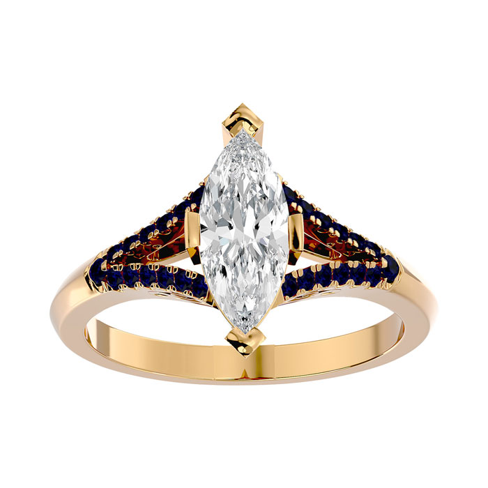 1.25 Carat Marquise Shape Diamond & Sapphire Engagement Ring in 14K Yellow Gold (4.10 g) (