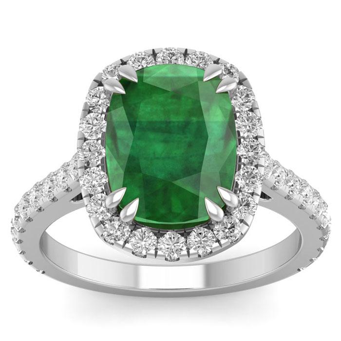 5 1/2 Carat Cushion Cut Zambian Emerald & 40 Diamond Ring in 14K White Gold (4.30 g)