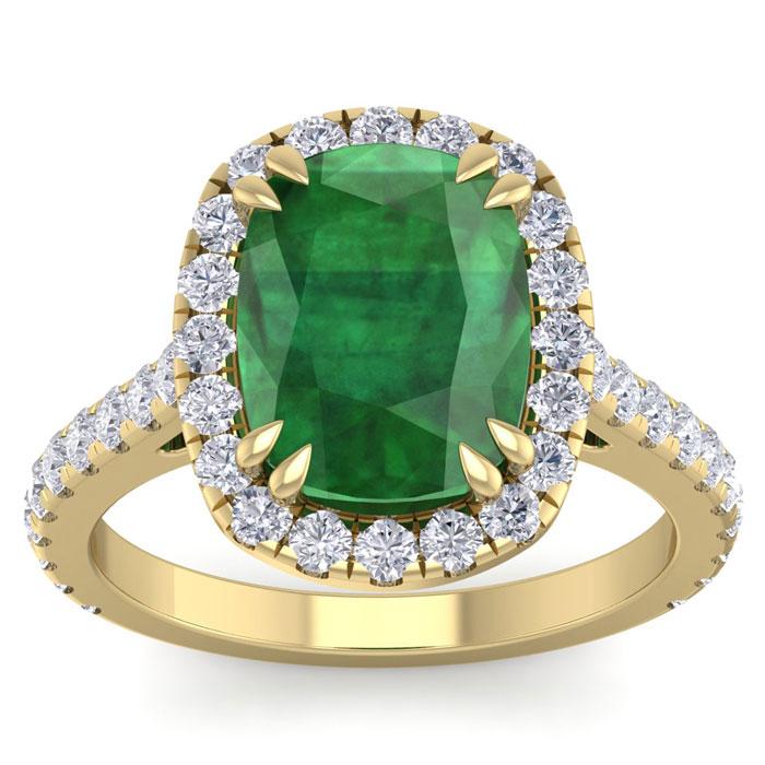 5 1/2 Carat Cushion Cut Zambian Emerald & 40 Diamond Ring in 14K Yellow Gold (4.30 g)