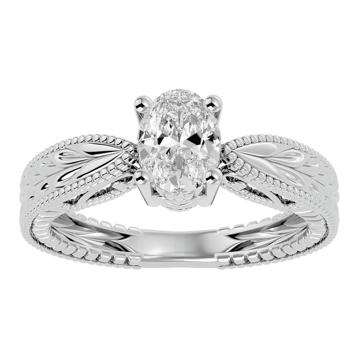 1 Carat Oval Shape Diamond Solitaire Engagement Ring w/ Tapered Etched Band in 14K White Gold (5.30 g) (
