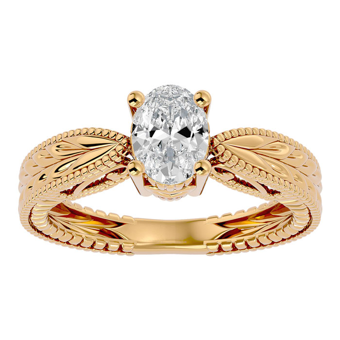 1 Carat Oval Shape Diamond Solitaire Engagement Ring w/ Tapered Etched Band in 14K Yellow Gold (5.30 g) (