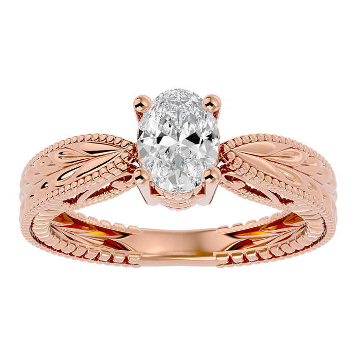 1 Carat Oval Shape Diamond Solitaire Engagement Ring w/ Tapered Etched Band in 14K Rose Gold (5.30 g) (