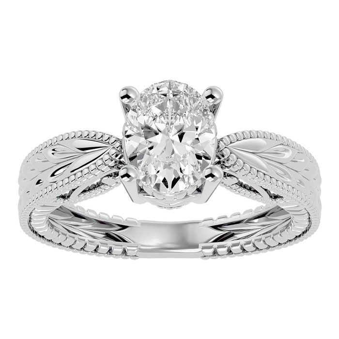 1.5 Carat Oval Shape Diamond Solitaire Engagement Ring w/ Tapered Etched Band in 14K White Gold (6 g) (