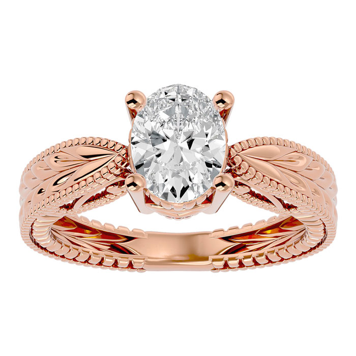 1.5 Carat Oval Shape Diamond Solitaire Engagement Ring w/ Tapered Etched Band in 14K Rose Gold (6 g) (
