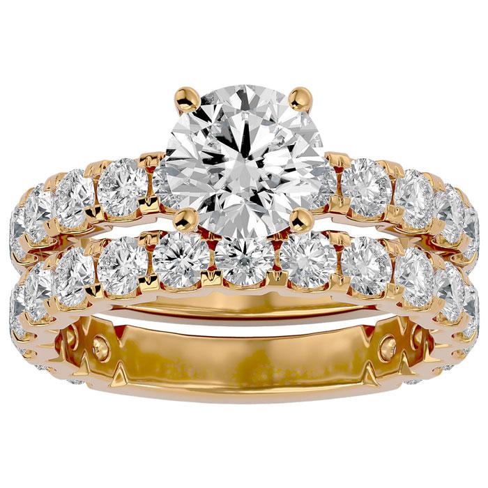 3 1/2 Carat Round Diamond Bridal Ring Set in 14K Yellow Gold (6 g) (