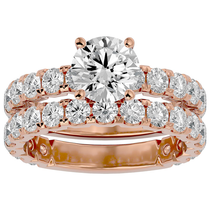 3 1/2 Carat Round Diamond Bridal Ring Set in 14K Rose Gold (6 g) (