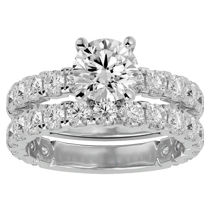 4 Carat Round Diamond Bridal Ring Set in 14K White Gold (6.50 g) (