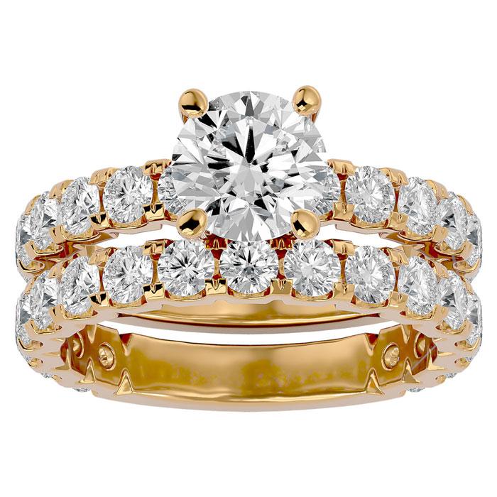 4 Carat Round Diamond Bridal Ring Set in 14K Yellow Gold (6.50 g) (