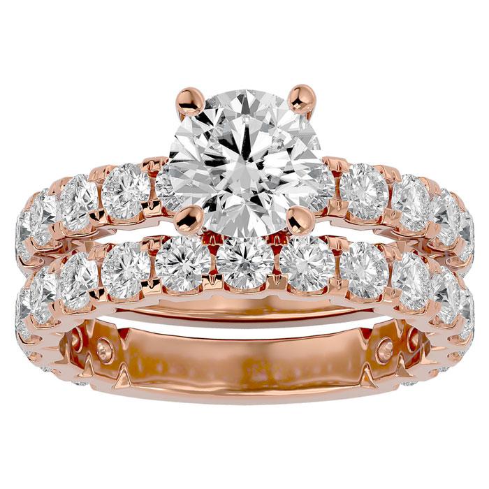 4 Carat Round Diamond Bridal Ring Set in 14K Rose Gold (6.50 g) (