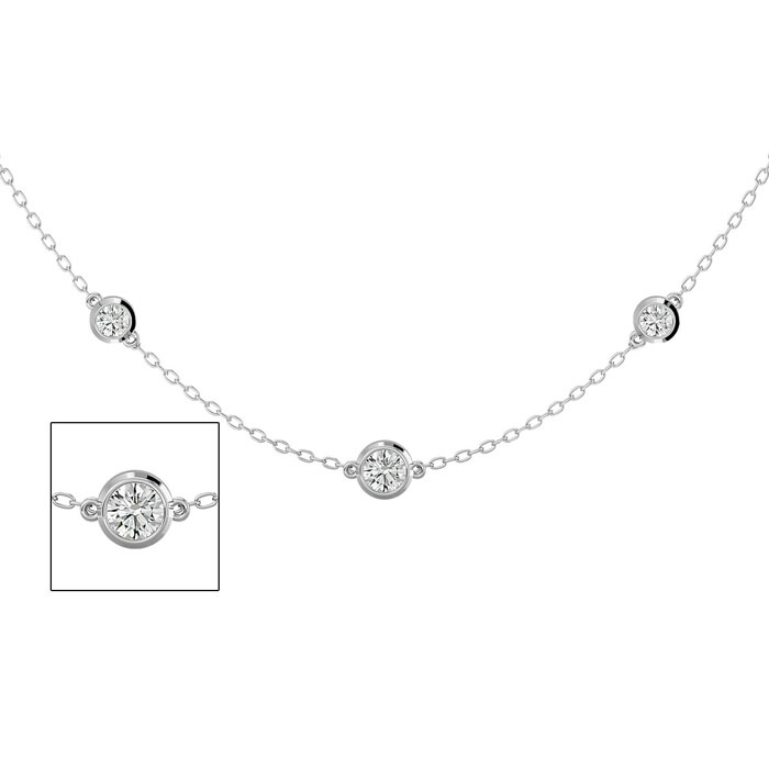 14K White Gold (5.70 g) 2 Carat Graduated Diamonds By The Yard Necklace