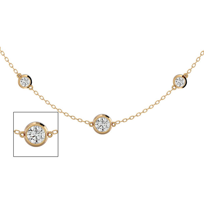 14K Yellow Gold (7.80 g) 2 3/4 Carat Graduated Diamonds By The Yard Necklace