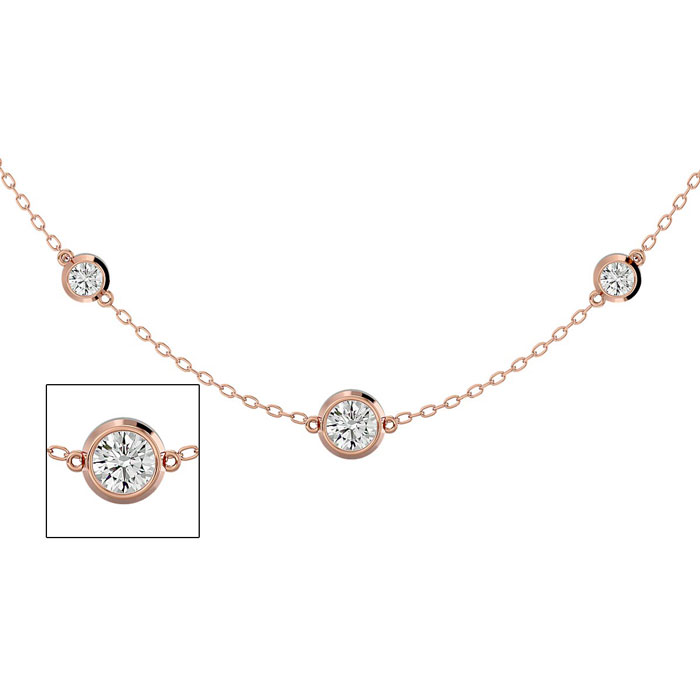 14K Rose Gold (7.80 g) 2 3/4 Carat Graduated Diamonds By The Yard Necklace