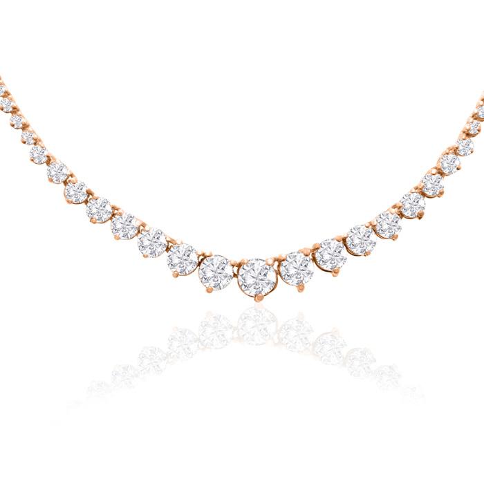 Graduated 4 Carat Diamond Tennis Necklace in 14K Rose Gold (17 g) (