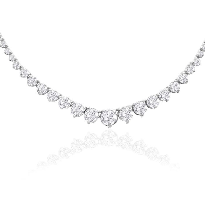 Graduated 4 Carat Diamond Tennis Necklace in 14K White Gold (17 g) (