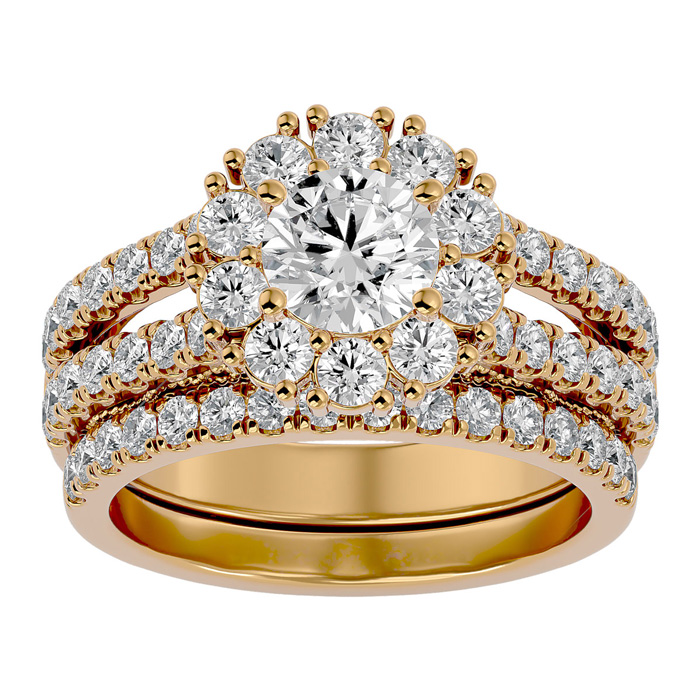 2.5 Carat Shape Diamond Bridal Ring Set in 14K Yellow Gold (8.60 g) (