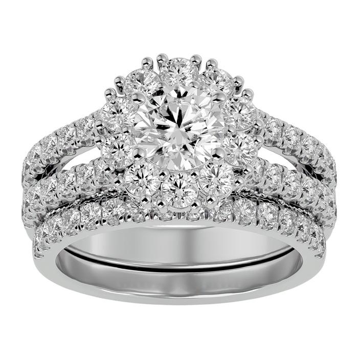 2.5 Carat Shape Diamond Bridal Ring Set in 14K White Gold (8.60 g) (
