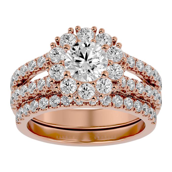 2.5 Carat Shape Diamond Bridal Ring Set in 14K Rose Gold (8.60 g) (