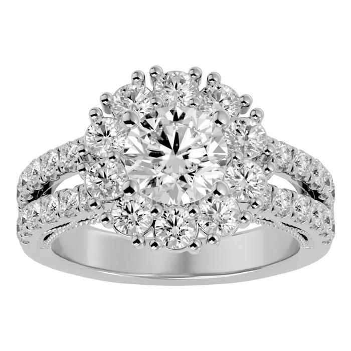 3 Carat Halo Diamond Engagement Ring in 14K White Gold (6.70 g) (