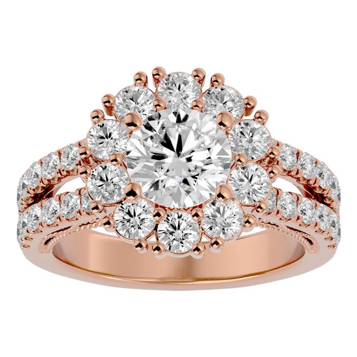 3 Carat Halo Diamond Engagement Ring in 14K Rose Gold (6.70 g) (