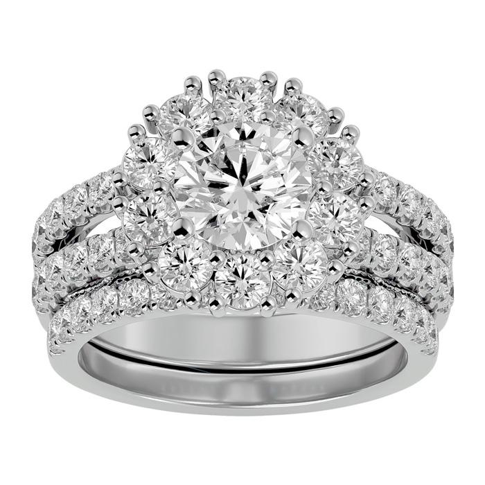 3 1/2 Carat Shape Diamond Bridal Ring Set in 14K White Gold (8.90 g) (