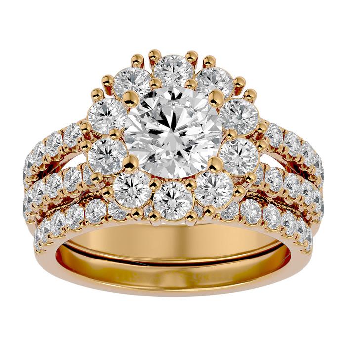 3 1/2 Carat Shape Diamond Bridal Ring Set in 14K Yellow Gold (8.90 g) (