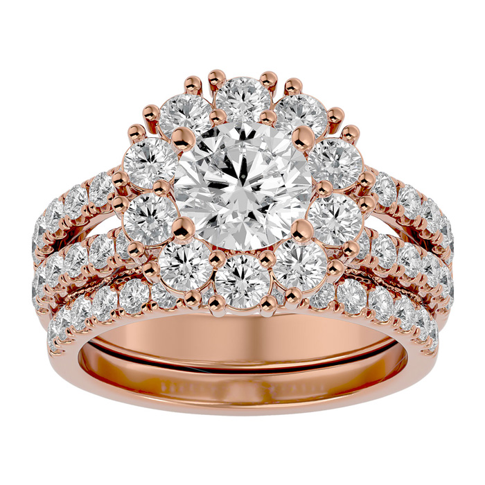 3 1/2 Carat Shape Diamond Bridal Ring Set in 14K Rose Gold (8.90 g) (
