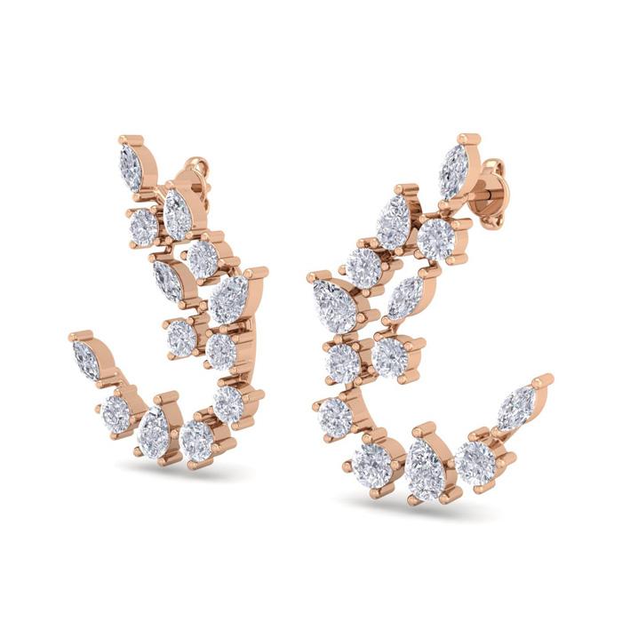 3 Carat Fancy Diamond Drop Earrings in 14K Rose Gold (5.80 g) (F-G Color