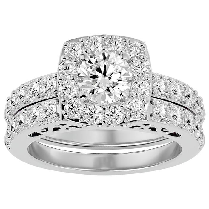 3 Carat Shape Diamond Bridal Ring Set in 14K White Gold (10.50 g) (