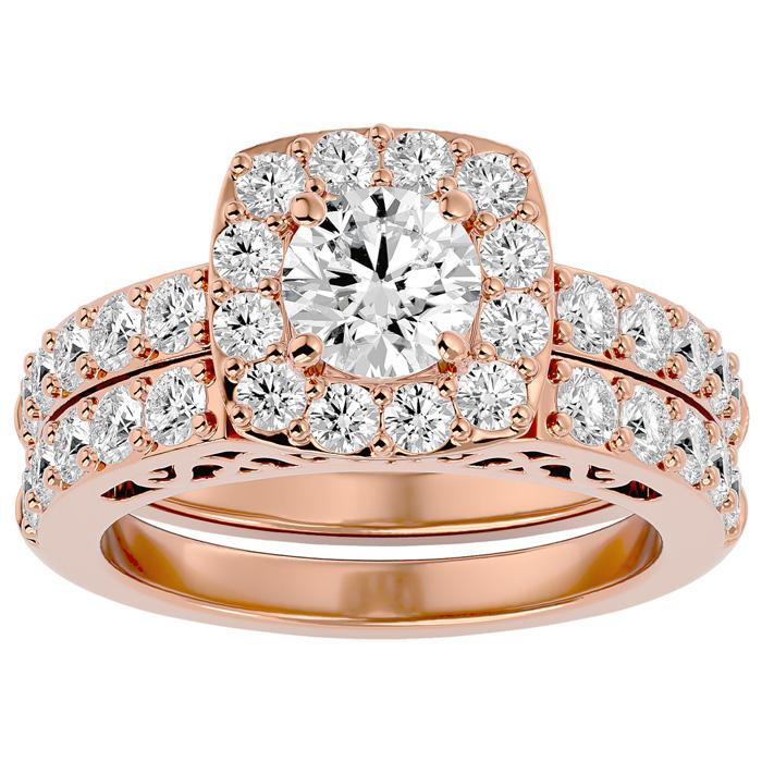 3 Carat Shape Diamond Bridal Ring Set in 14K Rose Gold (10.50 g) (