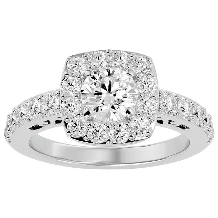 2.5 Carat Halo Diamond Engagement Ring in 14K White Gold (5.80 g) (