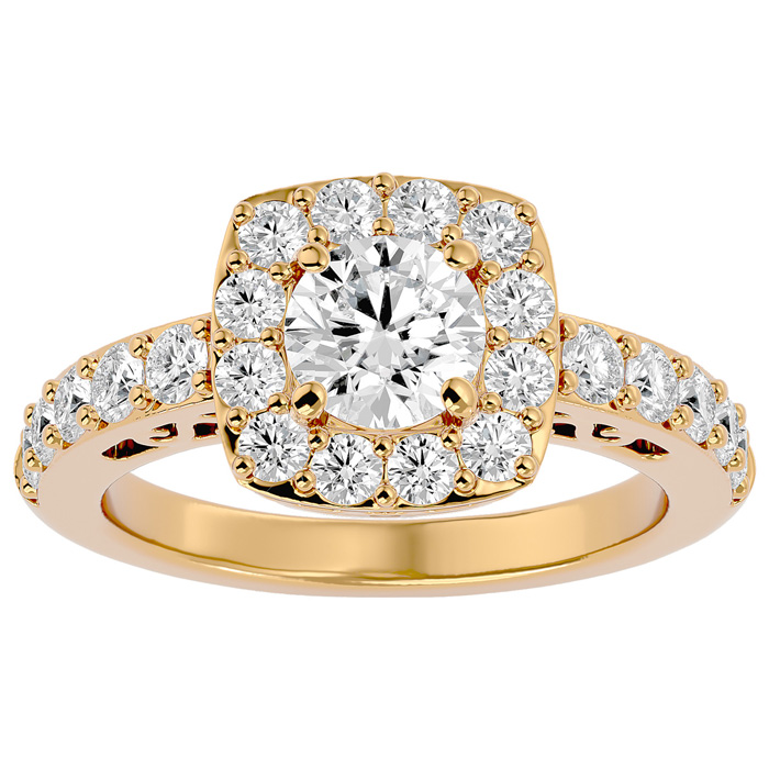 2.5 Carat Halo Diamond Engagement Ring in 14K Yellow Gold (5.80 g) (