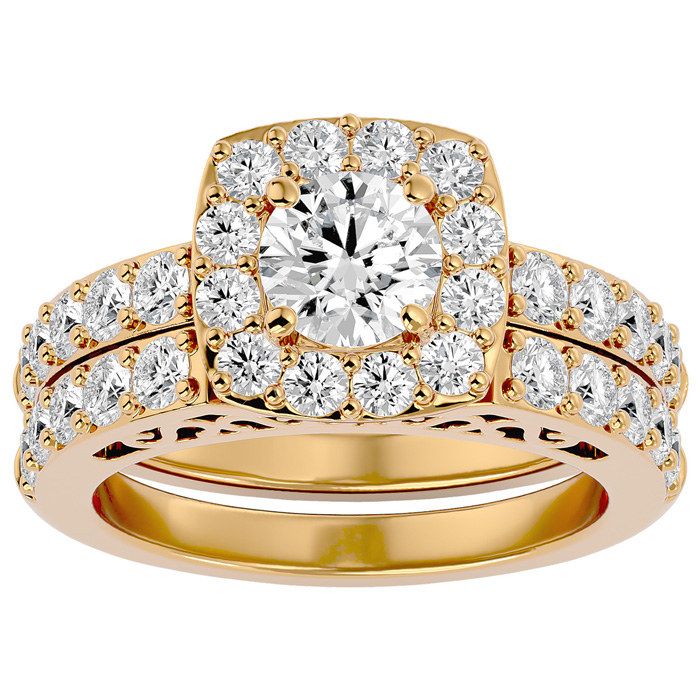 3 Carat Shape Diamond Bridal Ring Set in 14K Yellow Gold (10.50 g) (