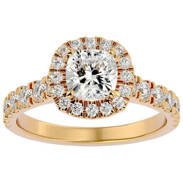 2 Carat Cushion Cut Halo Diamond Engagement Ring in 14K Yellow Gold (4.30 g) (
