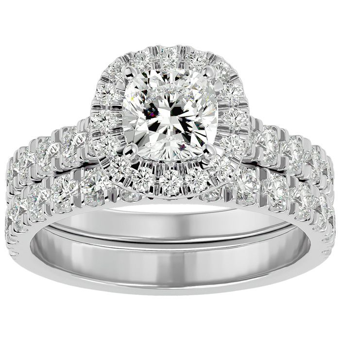 2 1/4 Carat Cushion Cut Halo Diamond Bridal Ring Set in 14K White Gold (6.50 g) (