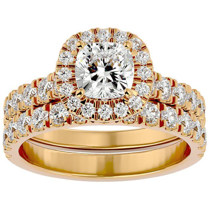 2 1/4 Carat Cushion Cut Halo Diamond Bridal Ring Set in 14K Yellow Gold (6.50 g) (