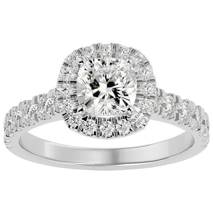 2 Carat Cushion Cut Halo Diamond Engagement Ring in 14K White Gold (4.30 g) (