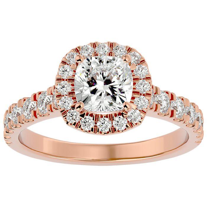 2 Carat Cushion Cut Halo Diamond Engagement Ring in 14K Rose Gold (4.30 g) (