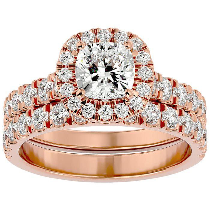 2 1/4 Carat Cushion Cut Halo Diamond Bridal Ring Set in 14K Rose Gold (6.50 g) (