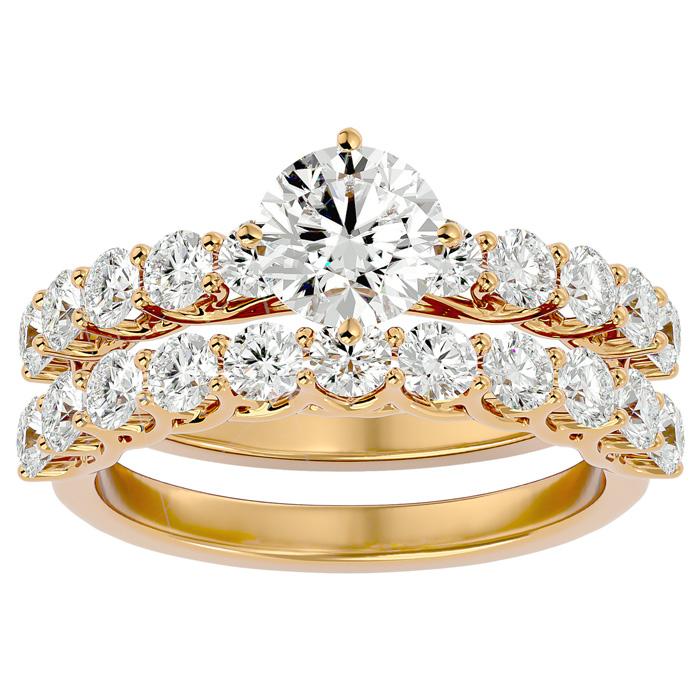 2.5 Carat Diamond Bridal Ring Set in 14K Yellow Gold (6 g) (