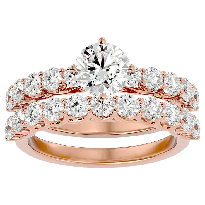 2.5 Carat Diamond Bridal Ring Set in 14K Rose Gold (6 g) (