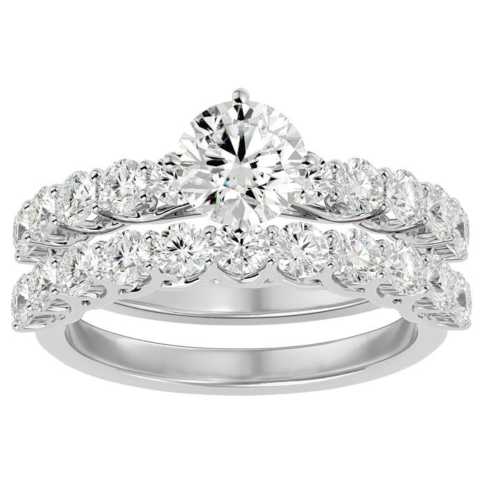 2.5 Carat Diamond Bridal Ring Set in 14K White Gold (6 g) (