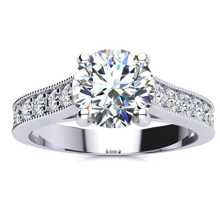 2 Carat Round Diamond Diamond Engagement Ring w/ 1.5 Carat Center Diamond in 2.4K White Gold (4 g)™ (