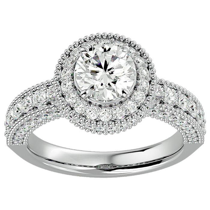 2.5 Carat Halo Diamond Engagement Ring in 2.4 Karat White Gold (3 g)™ (